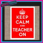 KEEP CALM AND TEACHER ON JUTE  SHOPPING GIFT BAG 004